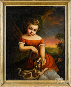 Oil on canvas portrait of a boy and his dog