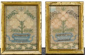 Pair of miniature silk on linen samplers