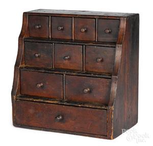 New England pine stepback spice chest