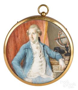 English miniature watercolor on ivory portrait