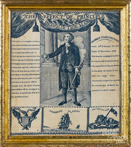 Copper engraved handkerchief of George Washington