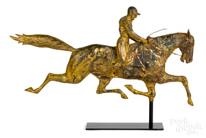 Full bodied horse and rider weathervane