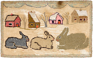 Rabbits hooked rug