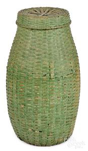 Large painted splint feather basket