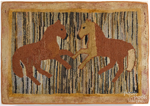 Rearing horse hooked rug