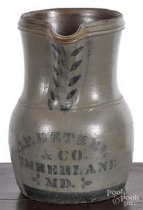 Western Pennsylvania stoneware merchant pitcher