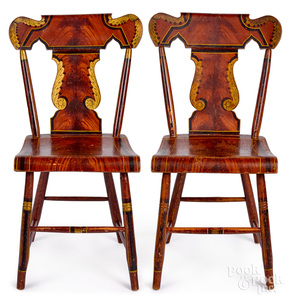 Pair of Pennsylvania plank seat dining chairs
