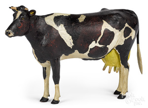 John Reber, carved, gessoed and painted cow