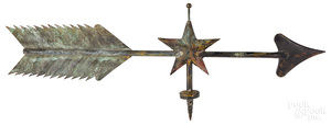 Copper arrow and star weathervane