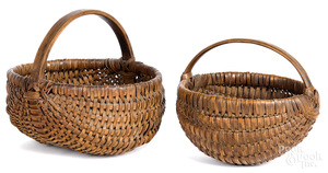 Two finely woven berry baskets