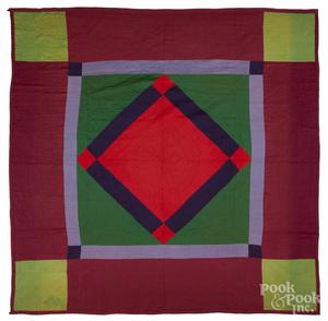 Amish diamond in square quilt