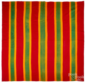 Red, orange and green bar quilt