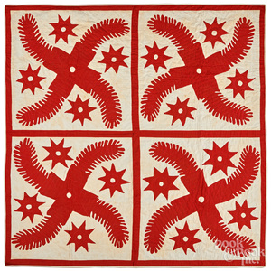 Red and white princess feather quilt