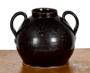 Redware two-handled crock