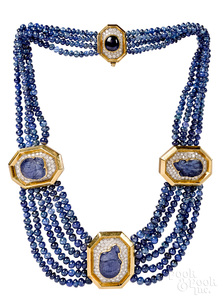 18K gold Carimati beaded sapphire diamond necklace