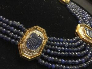 18K gold Carimati beaded sapphire diamond necklace