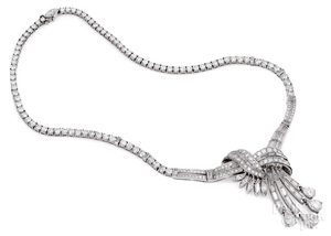 Mid-century platinum and diamond necklace