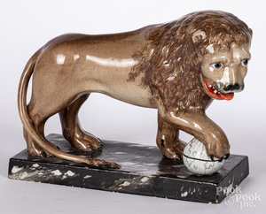 Staffordshire lion with globe