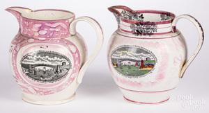 Two Sunderland lustre pitchers