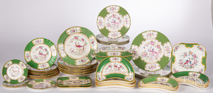 Mintons Green Cockatrice porcelain dinner service
