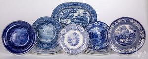 Twelve blue Staffordshire plates and bowls, etc.