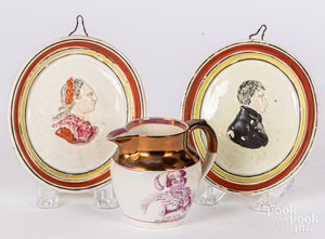 Pair of English pearlware portrait plaques