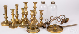 Four pairs of Victorian brass candlesticks
