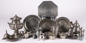 Collection of pewter.