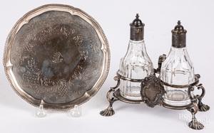 Georgian silver salver and cruet stand