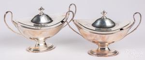 Pair of George IV silver sauce tureens