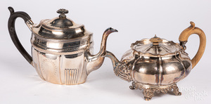 Two George IV silver teapots