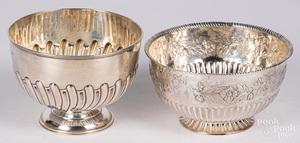 Two Georgian repousse silver bowls