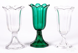 Two Sandwich glass tulip vases