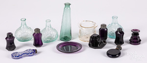 Collection of glass scent bottles, inkwells, etc.