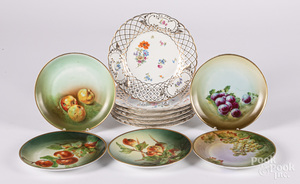 Set of six Dresden reticulated porcelain plates