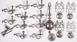 Williamsburg reproduction pewter chandelier.