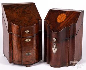 Two similar George III inlaid mahogany knife boxes