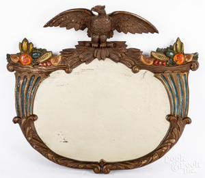 Carved and painted eagle and cornucopia mirror