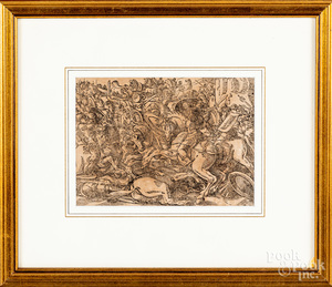 Tobias Stimmer engraved battle scene, etc.