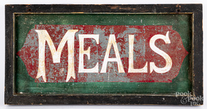 Painted tin Meals sign, etc.