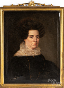 Two oil on canvas portraits of a woman