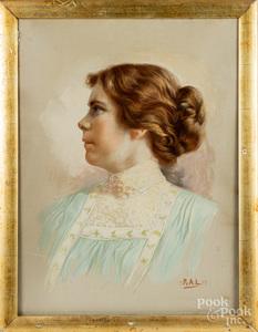 Pastel portrait of a woman, etc.