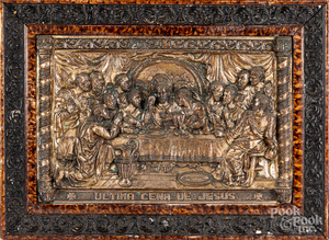 Embossed copper plaque of the Last Supper