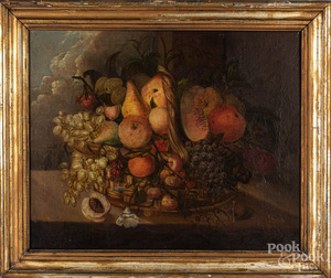 Oil on canvas still life with fruit