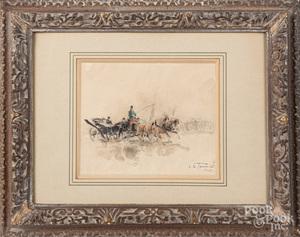 Three watercolor Parisian scenes
