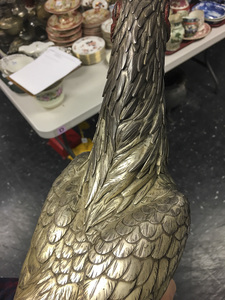 Chinese gilt and silver plated rooster