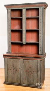 Painted pine stepback cupboard, 19th c., retainin