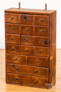 Pine apothecary cupboard, late 19th c., 27 3/4