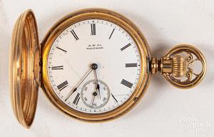 14K gold Waltham hunter case ladies pocket watch