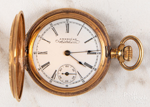 14K gold Waltham hunter case ladies pocket watch